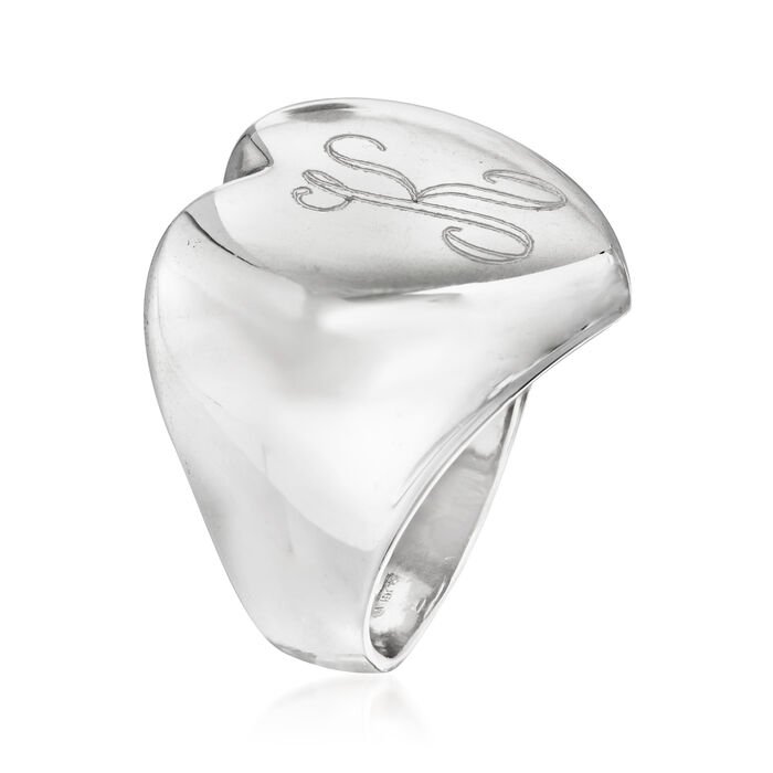 Italian Sterling Silver Single-Initial Heart-Top Ring