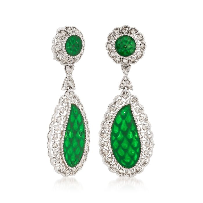 C. 1970 Vintage Jade and 1.00 ct. t.w. Diamond Clip-On Drop Earrings in 18kt White Gold