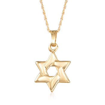 """Mom & Me Star of David Pendant Necklace Set of Two in 14kt Yellow Gold. 15""""-18"""", , default"""