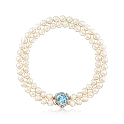 C. 1960 Vintage Cultured Pearl, 10.00 Carat Aquamarine and .75 ct. t.w. Diamond Necklace in 14kt Yellow Gold