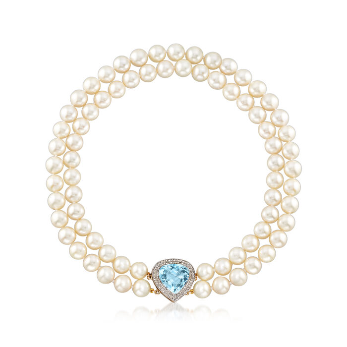 C. 1960 Vintage Cultured Pearl, 10.00 Carat Aquamarine and .75 ct. t.w. Diamond Necklace in 14kt Yellow Gold. 15""