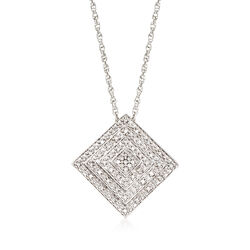 ".15 ct. t.w. Diamond Square Pendant Necklace in Sterling Silver. 18"", , default"