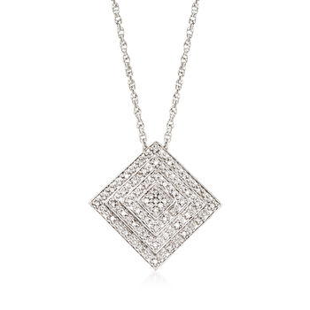 """.15 ct. t.w. Diamond Square Pendant Necklace in Sterling Silver. 18"""", , default"""