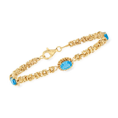 2.90 ct. t.w. Swiss Blue Topaz Byzantine Station Bracelet in 14kt Yellow Gold, , default