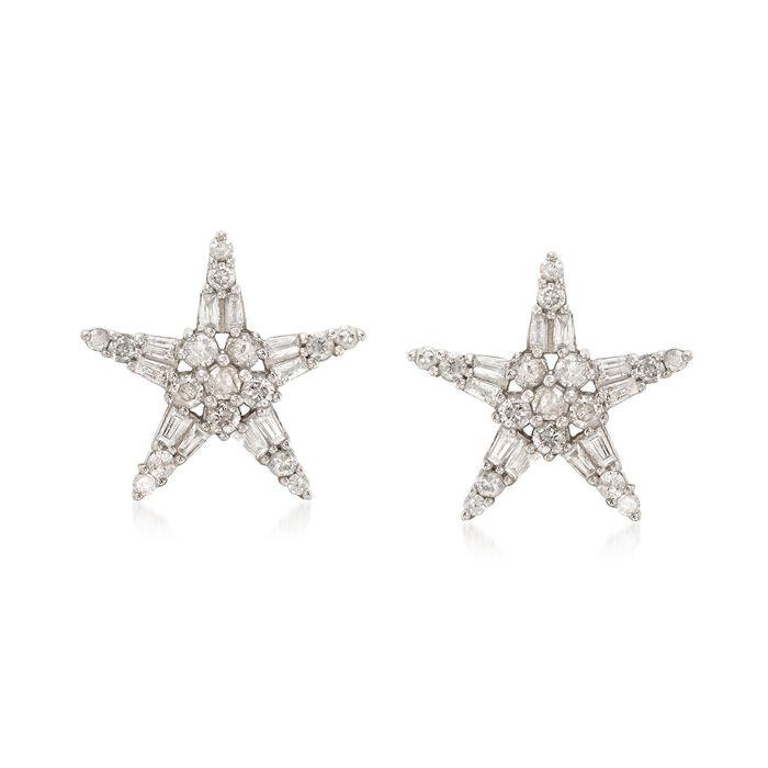 .50 ct. t.w. Diamond Star Earrings in Sterling Silver
