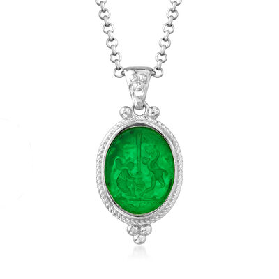 Italian Green Venetian Glass and Mother-Of-Pearl Pendant Necklace in Sterling Silver