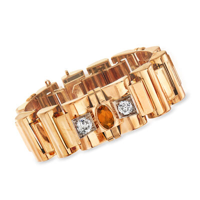C. 1940 Vintage 3.45 ct. t.w. Citrine and 2.90 ct. t.w. Diamond Section Bracelet in 18kt Yellow Gold, , default