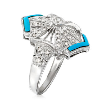 C. 1990 Vintage .40 ct. t.w. Diamond Ring with Blue Resin in 14kt White Gold. Size 7.25