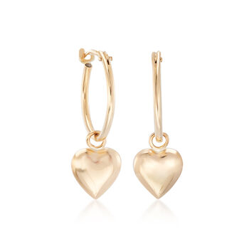 Child's 14kt Yellow Gold Heart Charm Hoop Earrings, , default