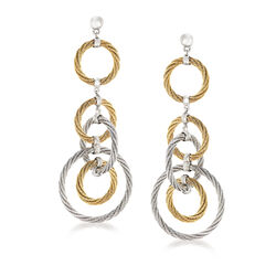 "ALOR ""Classique"" Stainless Steel and 18kt White Gold Multi-Circle Drop Earrings, , default"