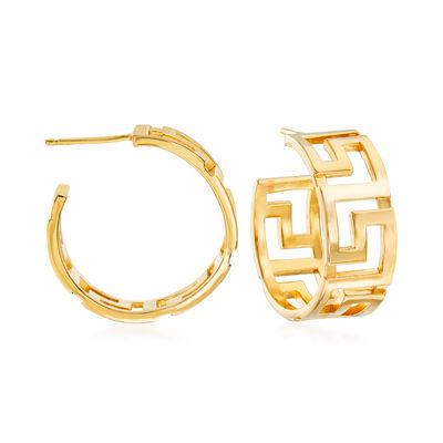 Italian 18kt Yellow Gold Over Sterling Silver Greek Key Hoop Earrings, , default