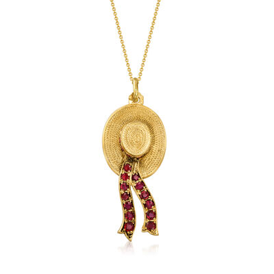 C. 1970 Vintage Nadri 3.45 ct. t.w. Ruby Hat Pendant Necklace in 18kt Yellow Gold