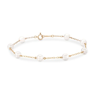 Mikimoto 5-5.5mm A+ Akoya Pearl Bracelet in 18kt Yellow Gold