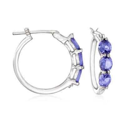1.80 ct. t.w. Tanzanite Hoop Earrings in Sterling Silver