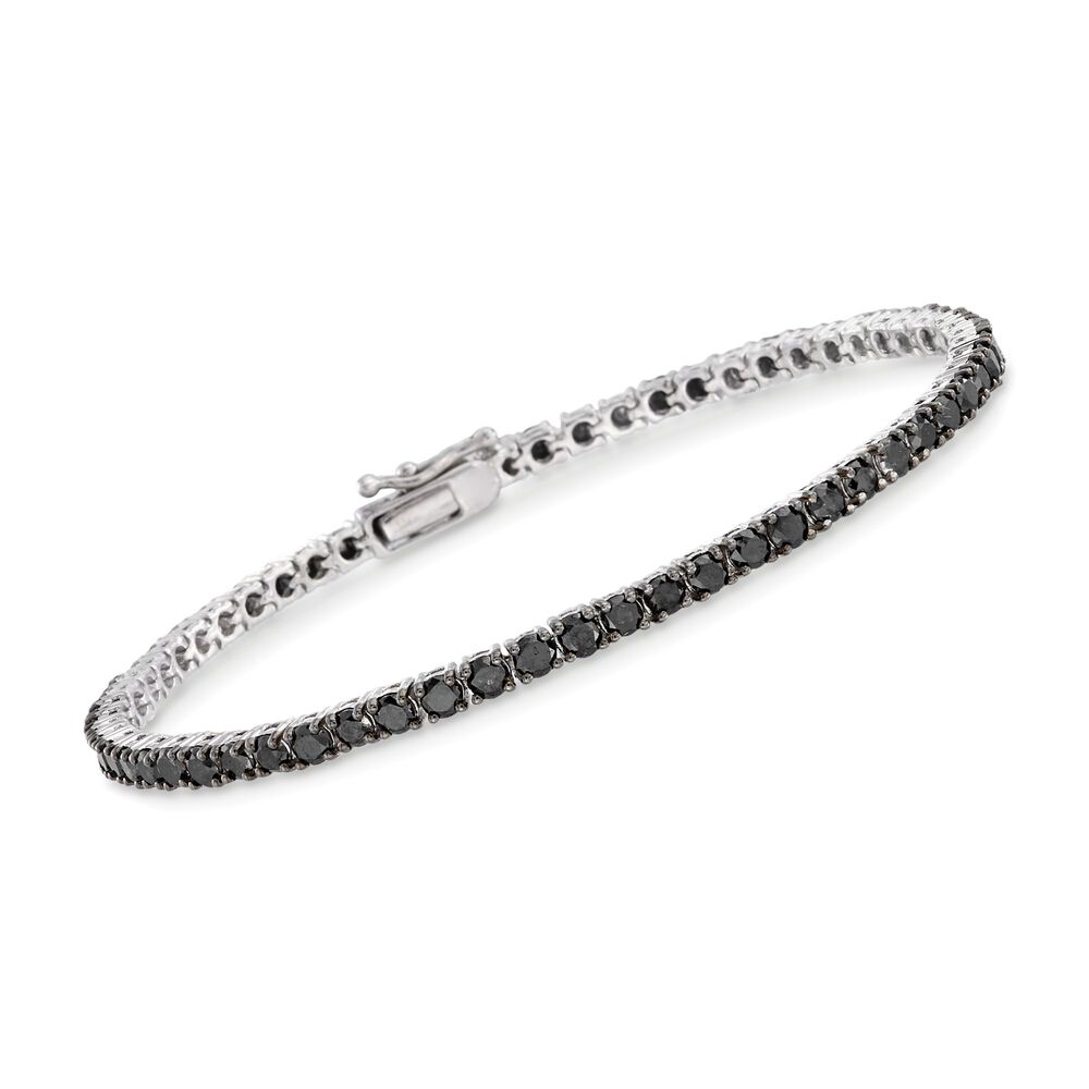 T W Black Diamond Tennis Bracelet In Sterling Silver 7
