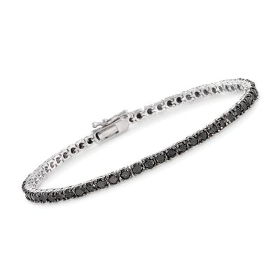 5.00 ct. t.w. Black Diamond Tennis Bracelet in Sterling Silver, , default