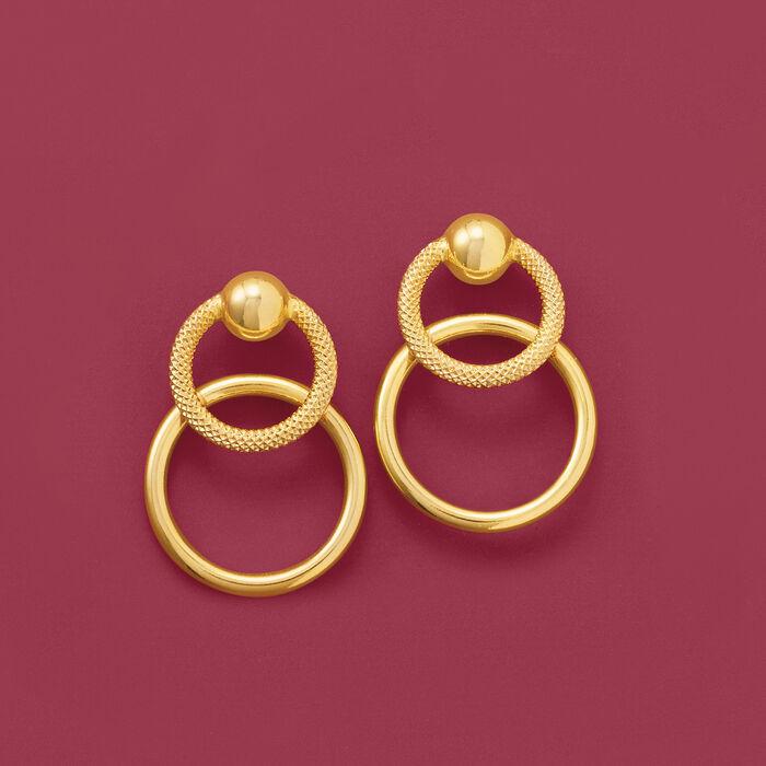 Italian 18kt Yellow Gold Open-Circle Drop Earrings