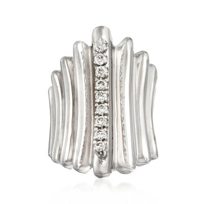 C. 1970 Vintage .50 ct. t.w. Diamond Ridged Ring in 14kt White Gold, , default