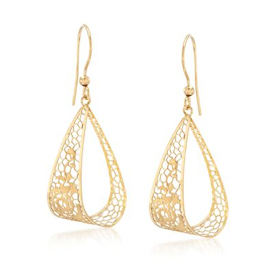 Italian 18kt Yellow Gold Brushed and Polished Openwork Floral Drop Earrings, , default