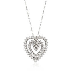 C. 1980 Vintage 1.85 ct. t.w. Diamond Open-Space Heart Necklace in 14kt White Gold, , default