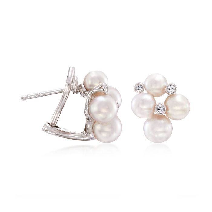 """Mikimoto """"Bubbles"""" 4.75-6mm A+ Akoya Pearl Cluster Earrings with Diamond Accents in 18kt White Gold"""
