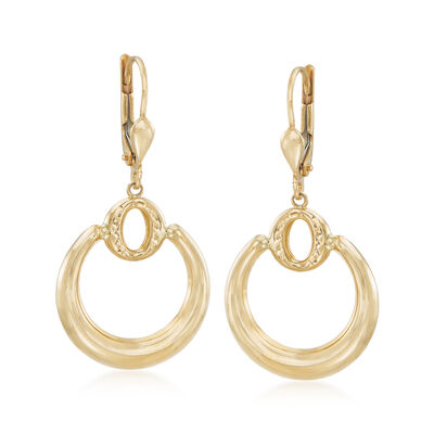 18kt Yellow Gold Double Circle Drop Earrings