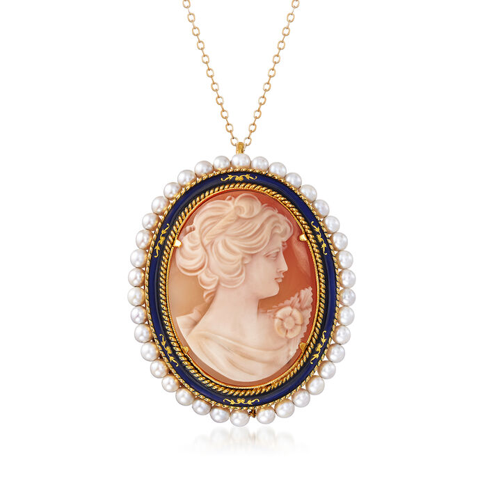 """C. 1960 Vintage Oval Cameo with Pearls Necklace in 18kt Yellow Gold. 18"""""""