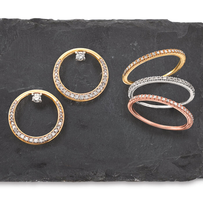 Set of Three .33 ct. t.w. Diamond Rings in Tri-Colored Sterling Silver