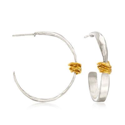 Two-Tone Sterling Silver Wrapped Hoop Earrings