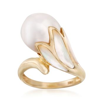 11-12mm Cultured Pearl and Mother-Of-Pearl Floral Ring in 14kt Yellow Gold, , default