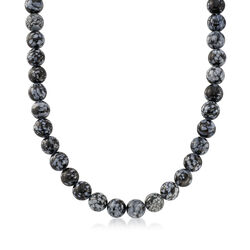 Obsidian Bead Necklace With Sterling Silver, , default