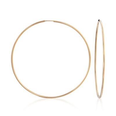 1.5mm 14kt Yellow Gold Endless Hoop Earrings , , default