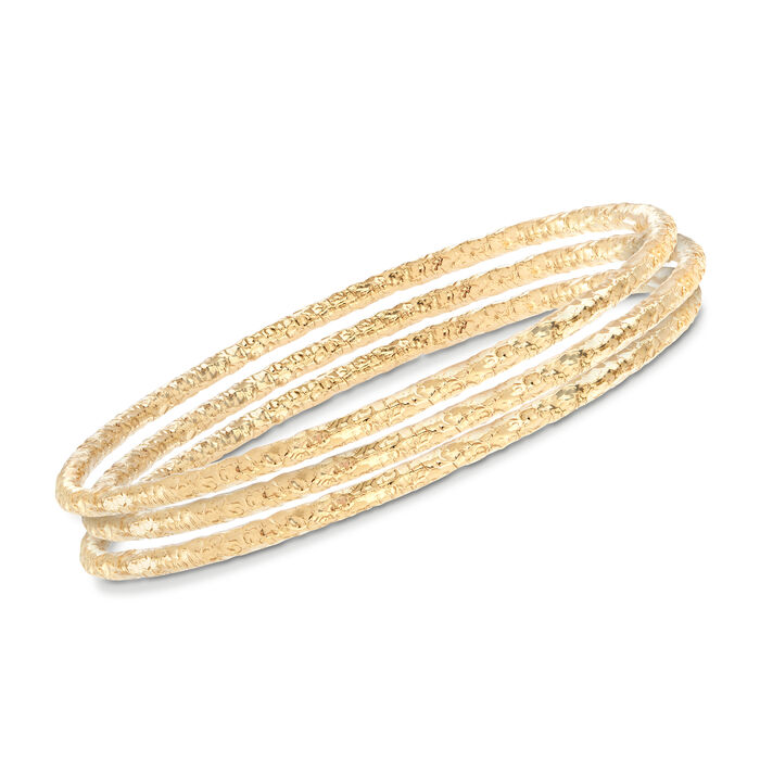 Italian 22kt Gold Over Sterling Jewelry Set: Three Hammered Bangle Bracelets