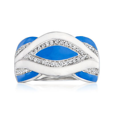 .25 ct. t.w. Diamond and Enamel Ring in Sterling Silver
