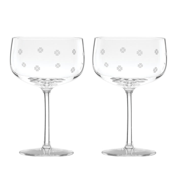 "Kate Spade New York ""Spade Clover"" Set of 2 Coupe Glasses"