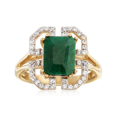 2.10 Carat Emerald and .40 ct. t.w. White Topaz Border Ring in 14kt Gold Over Sterling