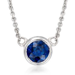 ".75 Carat Bezel-Set Sapphire Solitaire Necklace in 14kt White Gold. 16"", , default"