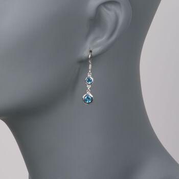 """Zina Sterling Silver """"Ripples"""" 1.80 ct. t.w. Blue Topaz Drop Earrings, , default"""