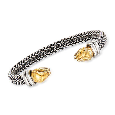 Italian Snakehead Cuff Bracelet in Sterling Silver and 18kt Gold Over Sterling, , default