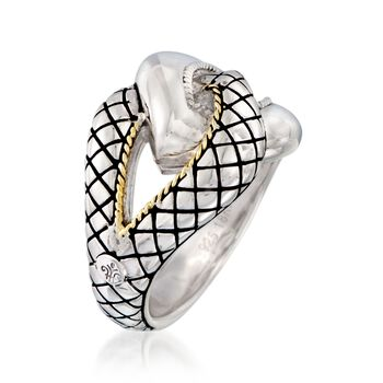 "Andrea Candela ""Conexion"" Sterling Silver Ring With 18kt Yellow Gold. Size 7, , default"