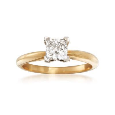 1.00 Carat Princess-Cut Diamond Ring in 18kt Yellow Gold, , default