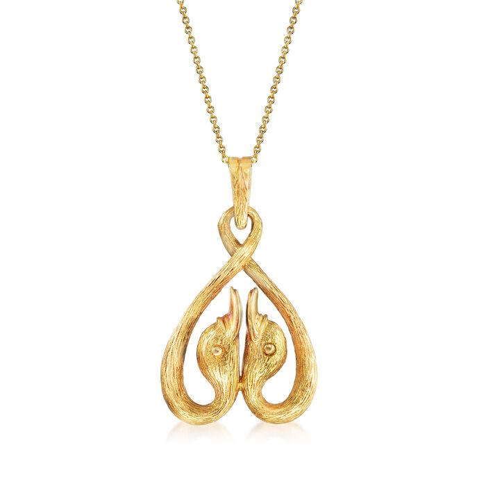 "C. 1970 Vintage Lalaounis 18kt Yellow Gold Double Swan Head Pendant Necklace. 18"""