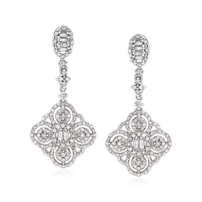 .50 ct. t.w. Diamond Floral Drop Earrings in Sterling Silver