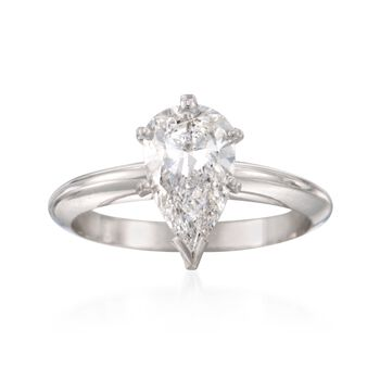 C. 1980 Vintage 1.55 Carat Pear-Shaped Diamond Solitaire Ring in 14kt White Gold. Size 6.25, , default