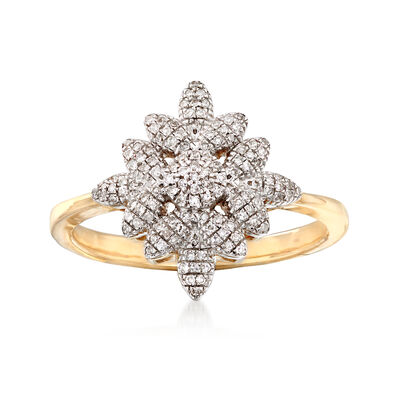 .17 ct. t.w. Diamond Floral Ring in 14kt Yellow Gold, , default