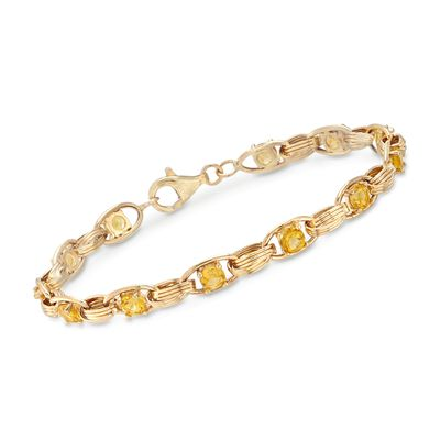 3.00 ct. t.w. Citrine Link Bracelet in 14kt Yellow Gold, , default