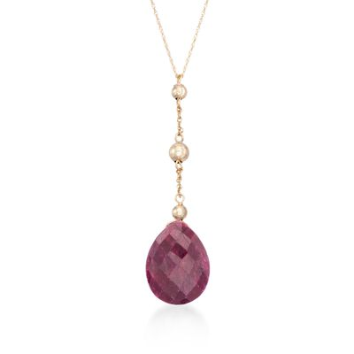 10.00 Carat Ruby and Bead Drop Necklace in 14kt Yellow Gold, , default