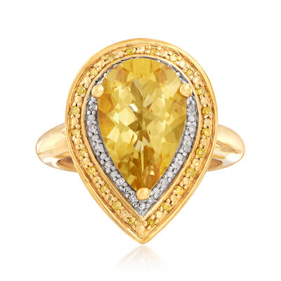 3.50 Carat Citrine and .20 ct. t.w. Yellow and White Diamond Ring in 18kt Gold Over Sterling, , default