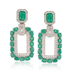 5.70 ct. t.w. Emerald and 1.10 ct. t.w. White Zircon Rectangle Drop Earrings in Sterling Silver, , default