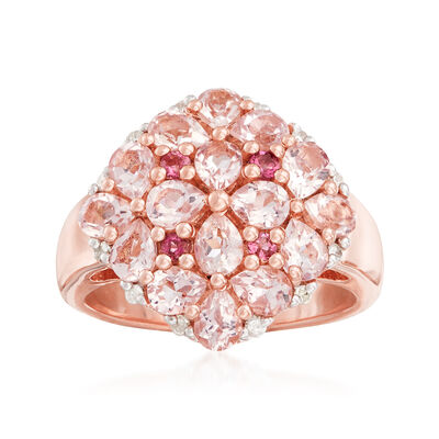 2.14 ct. t.w. Multi-Gem Ring in 18kt Rose Gold Over Sterling Silver, , default